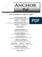 2012 Anchor Pub Lunch Menu