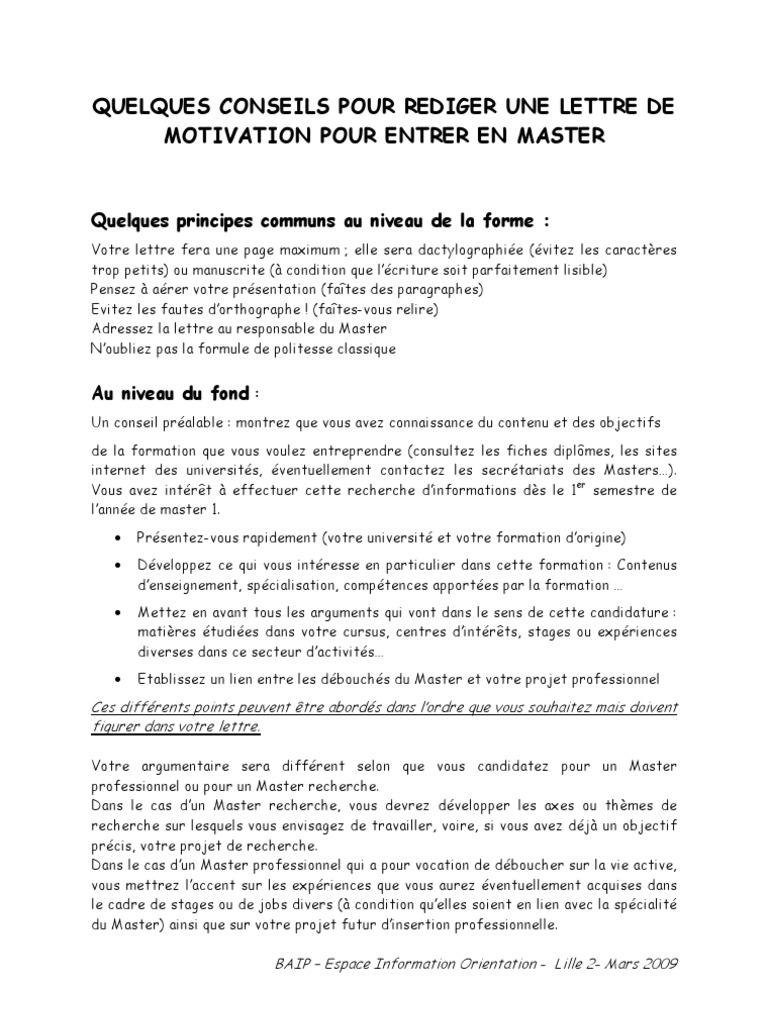 Lettre De Motivation Master 2009