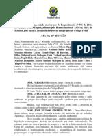 Ata da Comissão de juristas para a Reforma do Código Penal 25/05/12