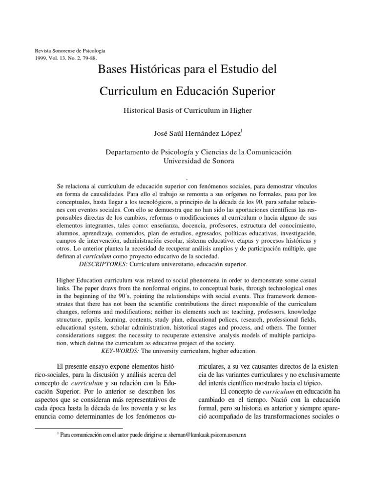 bases históricas para el estudio del curriculum