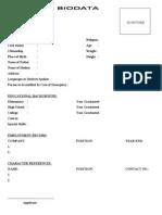 biodata format for students
