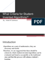 What Criteria for Student-Invented Algorithms by Abdul Tambunan