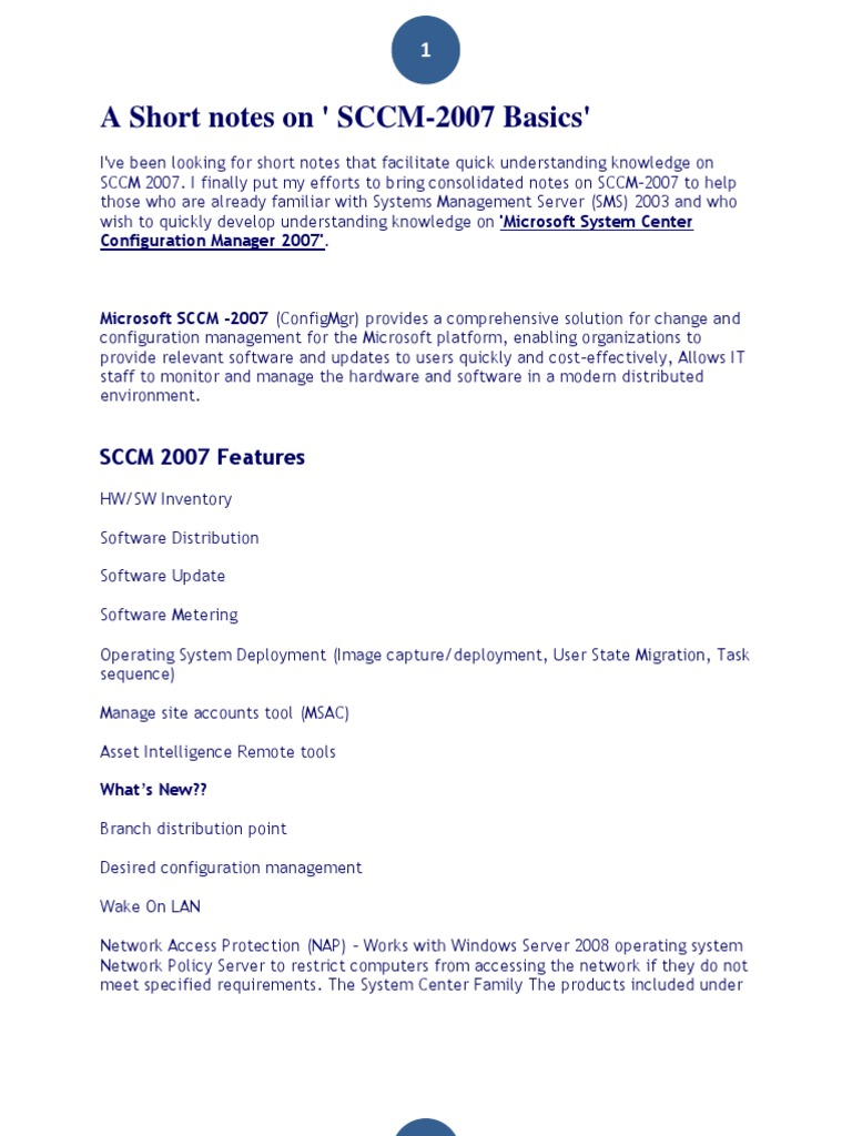 90988379-SCCM-Short-Notes pdf | Ip Address | Operating System