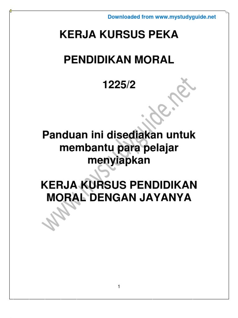 Essay moral tingkatan 4