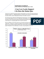 Health Care Law Lacks Support but So Does the Status Quo