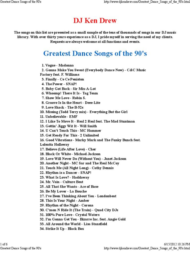 greatest dance songs of the 90 s disc jockey musicians