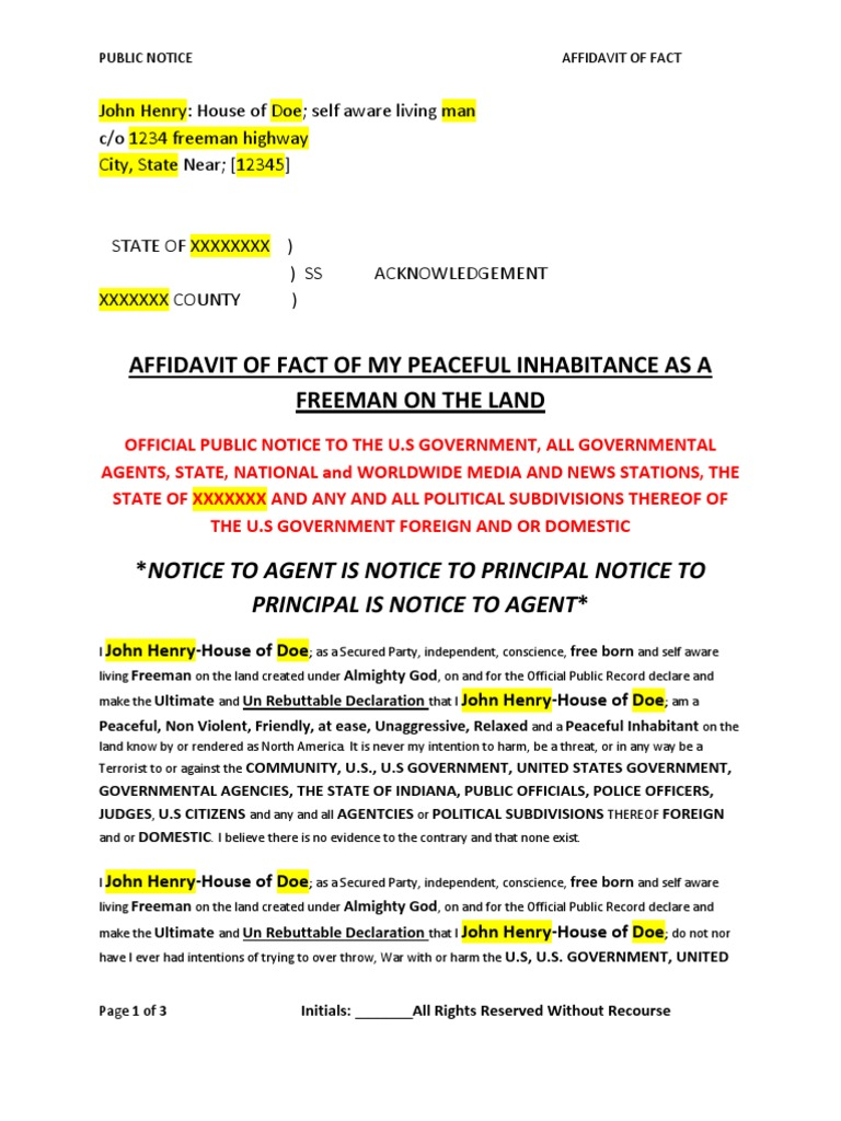 Template Affidavit Of Peaceful Inhabitance Notary Public Affidavit