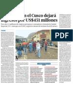 Turismo Cusco es 451 millones dolares