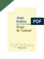 Alain Badiou, Nicolas Truong Éloge de lamour    2009