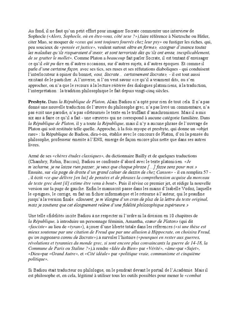La R U00e9publique De Platon  Alain Badiou