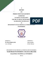 Production Management Report