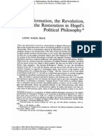 Beck, Lewis White - The Reformation, The Revolution, And the Restoration in Hegel's Political Philosophy
