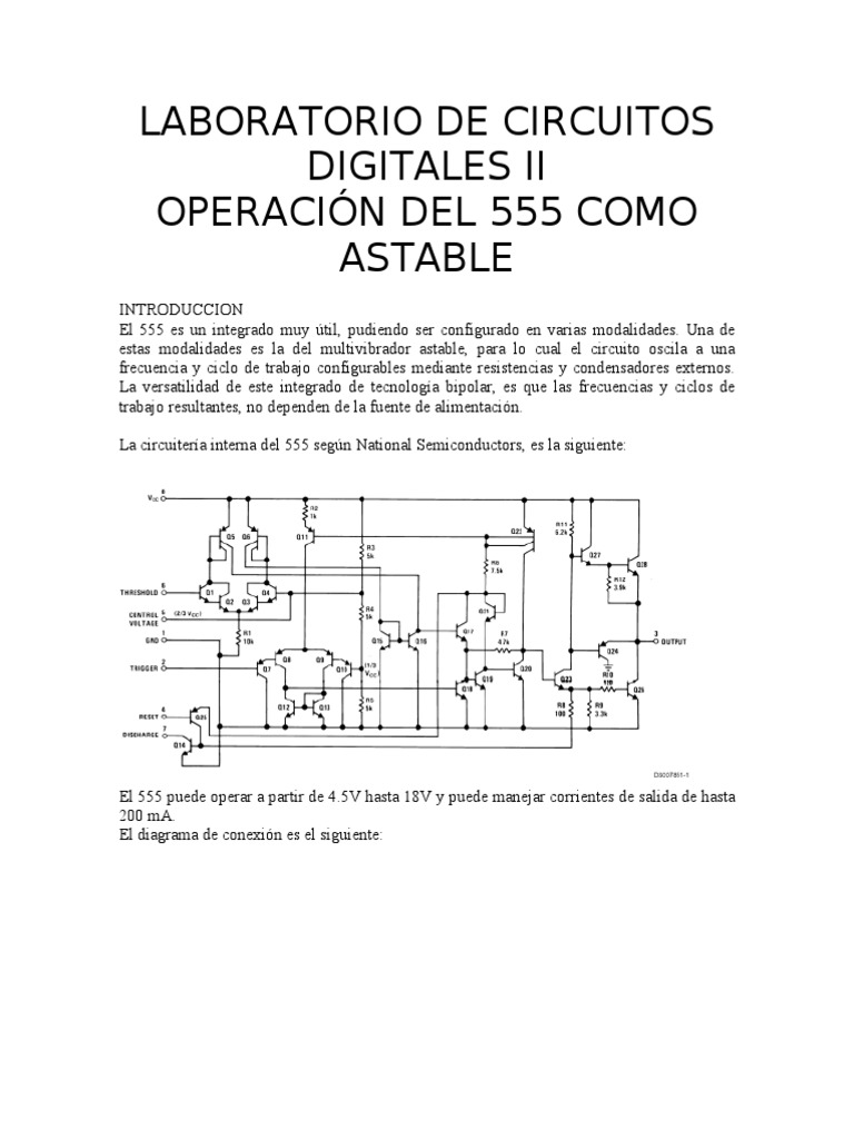 Circuito Astable 555 : Circuito integrado como astable