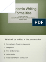 Academic Writing Formalities