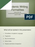 Academic Writing Formalities