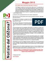 Newsletter di MAGGIO 2012 del Gruppo Consiliare PD di Zona 7-Milano