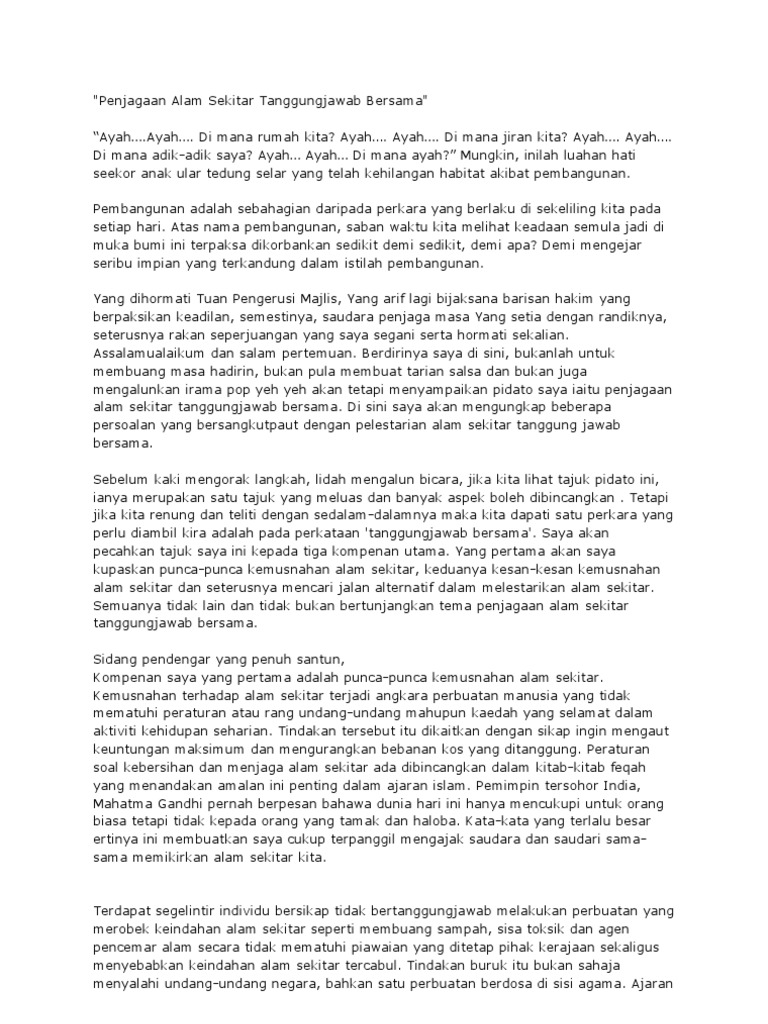 Teks Pidato Penjagaan Alam Sekitar Tanggungjawab Bersama
