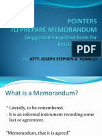 Pointers on How to Make a Memorandum