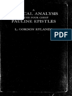 A Critical Analysis of the Four Chief Pauline Epistles, L. G. Rylands. 1929