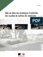 Aide Au Choix Des Techniques d'Entretien Des Couches de Surface