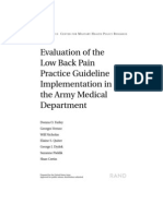 Evaluation of the Low Back Pain Practice Guideline Implementation in the Army
