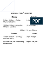 Schedule for 1st Semester