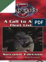 Mgp3401 - Babylon 5 Wargame - A Call to Arms - Fleet Lists, 2nd Edition