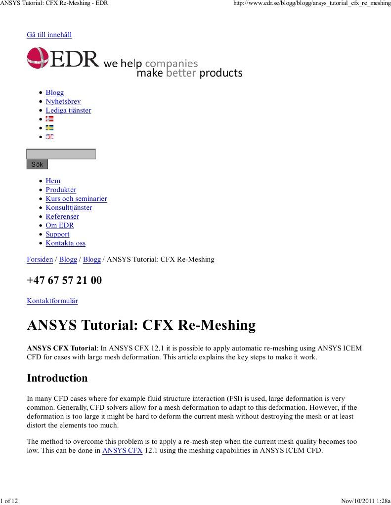 ANSYS Tutorial CFX Re-Meshing - EDR | Computational Fluid