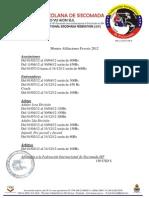 afiliaciones 2012 Fevesis