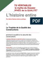 """Le Dossier """"LE TROPHÉE de la QUALITÉ"""" L'histoire entiere Par Adrian Nastase, detenu politique"""
