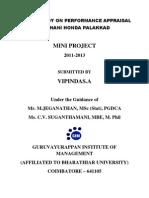 A Study on Performance Appraisal in Ghani Honda Palakkad