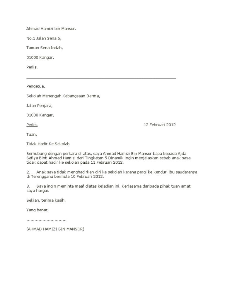 Contoh Surat X Hadir Sekolah