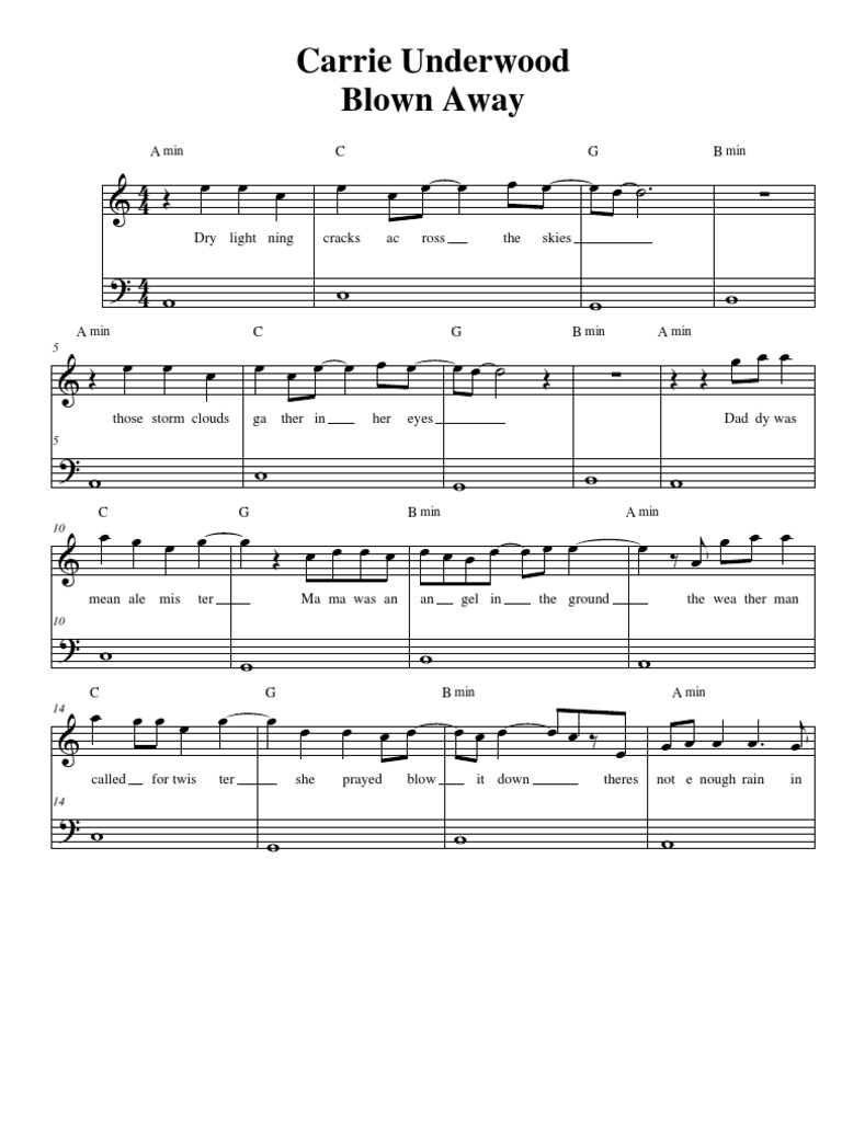 blown away carrie underwood free piano sheet music