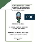 """Proyecto de Grado """"El sistema político, el Estado y la inclusión social"""" (1era edic)"""