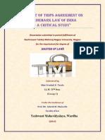 My Dissertation on Impactof TRIPS Agreement on Trademarklawin India