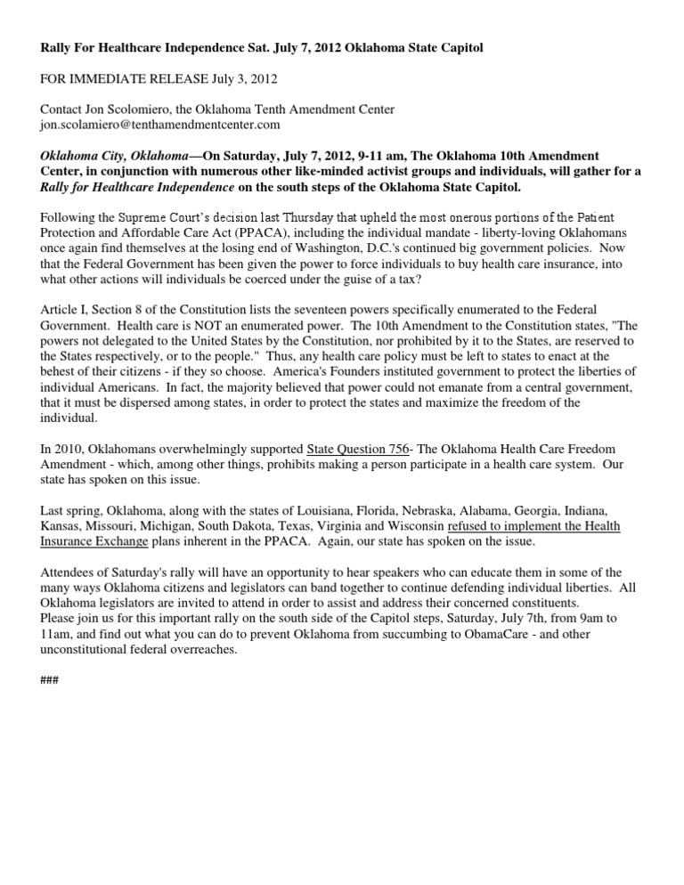 For Immediate Release Rally for Healthcare Independence 7 3