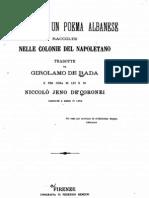 Rapsodie d'Un Poema Albanese - Girolamo De Rada [Jeronim de Rada] (1866)