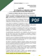 Comunicado - Ley Corrupción (3-7-2012) Juan Carlos Mendoza