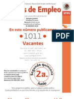 Ofertas de trabajo Michoacan semana 2 de junio