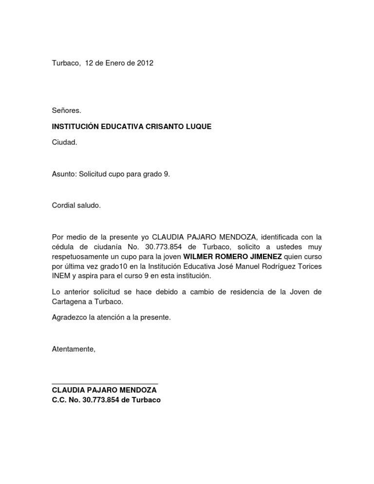 Artesanato Ideias De Natal ~ Carta Solicitud Cupo Academico