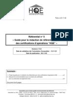 HQE _étapes à Justifier Pour La Certification _HQE2001