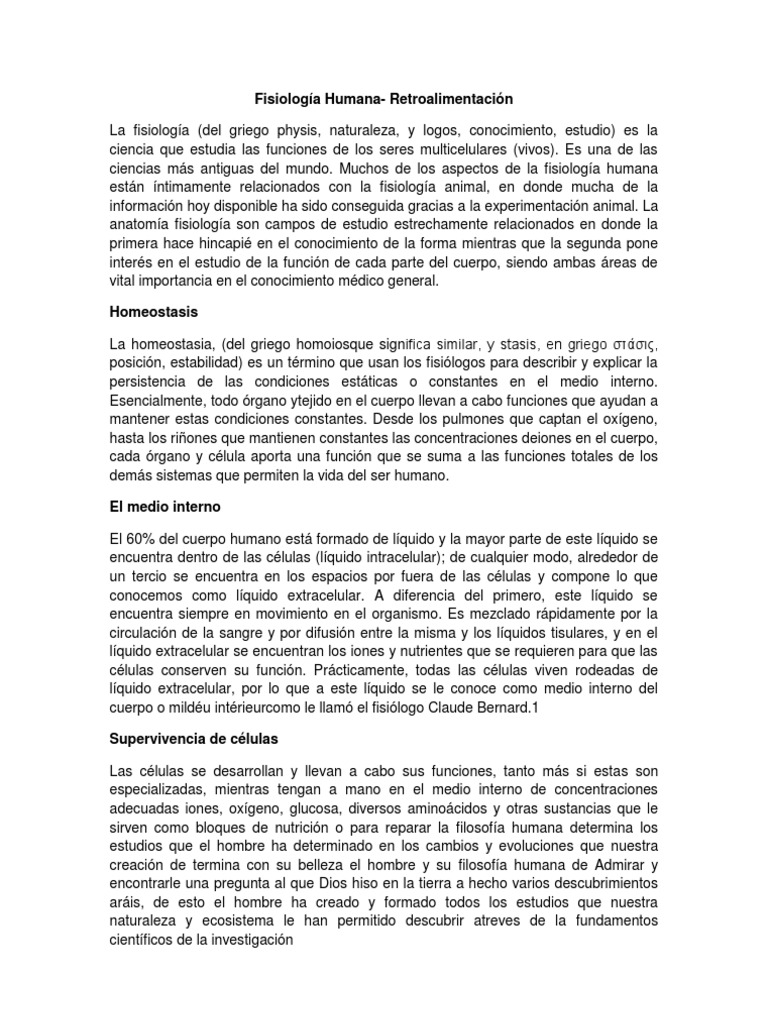 Fisiologia Humana Retroalimentacion