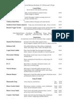 Robinson Ferry lunch menu