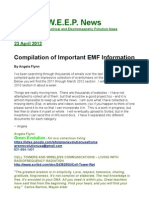 Wireless Electrical and Electromagnetic Pollution (WEEP) News Compilation of Important EMF Information by Angela Flynn, April 23, 2012