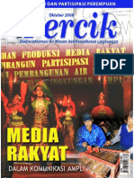 Media Rakyat dalam Komunikasi Air Minum dan Penyehatan Lingkungan. Media Informasi Air Minum dan Penyehatan Lingkungan PERCIK Edisi Oktober 2008