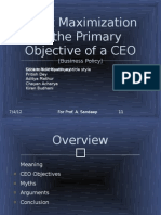 Profit Maximization is the Primary Objective of a CEO