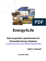 Energy4Life Renewable Energy Database User's Manual