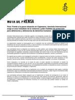 Amnistía Internacional pide el cese de la violencia en Cajamarca y exige respeto a los defensores de derechos humanos