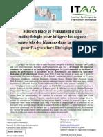 Mise en place et évaluation d'une méthodologie pour intégrer les aspects sensoriels des légumes dans la sélection pour l'agriculture biologique