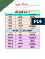 Cronograma de Evalua 3B 2012